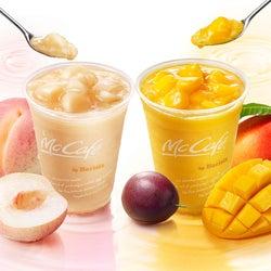 マックカフェ、ごろっと果肉入り「桃のスムージー」「マンゴー&パッションフルーツスムージー」登場