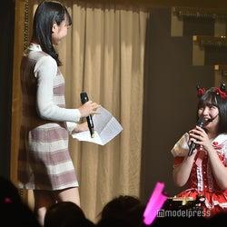 大盛真歩の登場に驚く矢作萌夏「AKB48矢作萌夏ソロコンサート~みんなまとめてすちにさせちゃうぞ~」 (C)モデルプレス