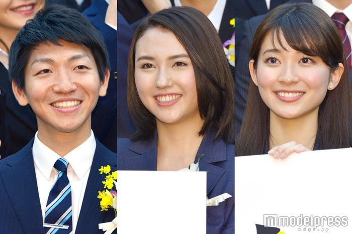 (左から)入社式に出席した喜入友浩アナ、山形純菜アナ、山本里菜アナ(C)モデルプレス