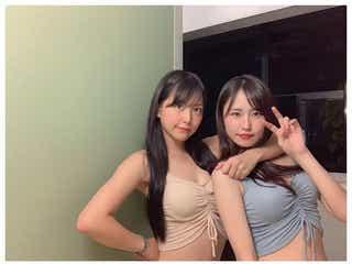 NMB48白間美瑠宅に古賀成美がお泊り おそろい水着&パジャマ姿に「超絶可愛い」の声