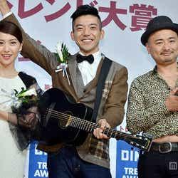 話題の人物賞を獲得(左から)大島優子、森慎太郎、江口直人