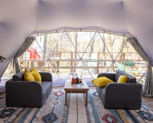 長野「グランピングベース エンキャンプ」湖畔のお洒落なドーム型テントでアウトドアステイ