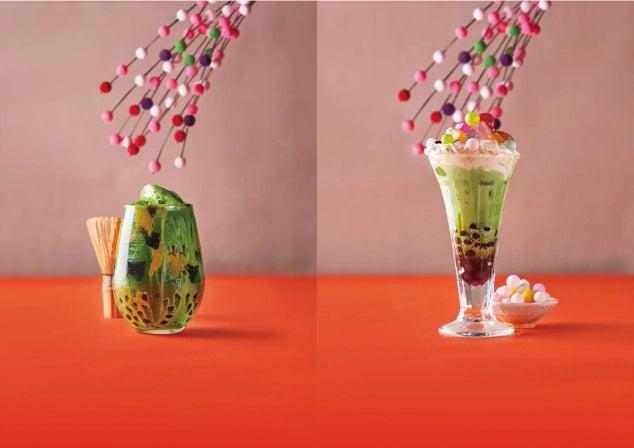 左:浅草グリーンティー580円、右:あんみつモッチャム580円/画像提供:オペレーションファクトリー