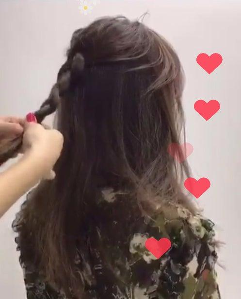 ステップ1:トップの髪を三つ編みに