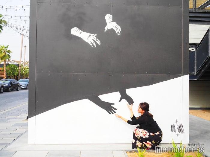 黒と白の手が独特な世界観を表現している壁(C)モデルプレス