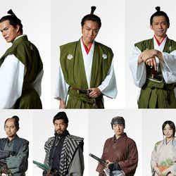 (上段左から)市原隼人、TAKAHIRO、岡田義徳(下段左から)相島一之、高島政宏、前田公輝、坂東希(C)2019「3人の信長」製作委員会