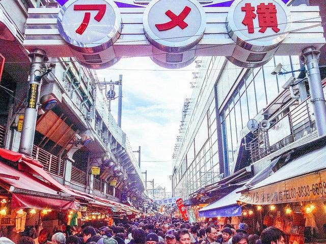 Year End Sale in Ameya Yokocho Shopping Street by Dick Thomas Johnson