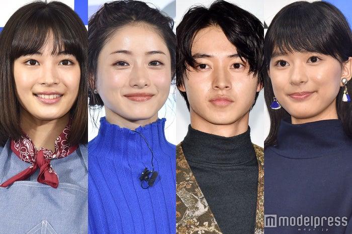 2018年冬ドラマで主演を務める(左から)広瀬すず、石原さとみ、山崎賢人、芳根京子(C)モデルプレス