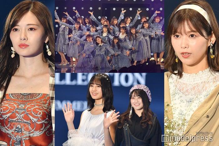 (左から時計回りに)白石麻衣、乃木坂46、渡邉理佐、小坂菜緒 (C)モデルプレス