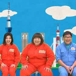 (左から)ゆめっち、福田麻貴、かなで、カンニング竹山、田村淳 (C)フジテレビ