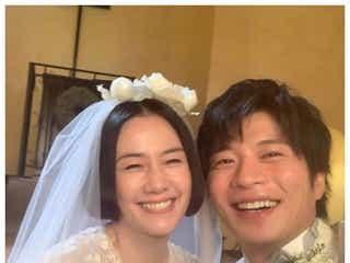 原田知世「あなたの番です」田中圭とのウェディングショット公開 「菜奈ちゃんありがとう」の声
