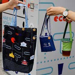 ECOCOでリサイクルし作ったバッグ・ドリンクホルダー/画像提供:MILKSHOP JAPAN株式会社