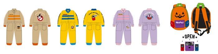 【仲里依紗×JACK-O-LAND】KIDSジャンプスーツ(左から)パンプキンベージュ、スウェディッシュイエロー、プリンセスロリポップピンク、KIDSバックパック