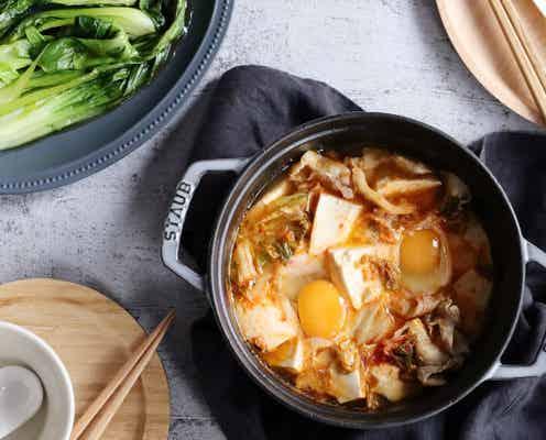 包丁要らずで10分でできる!豚バラと豆腐の食べる旨辛スープ&副菜レシピ