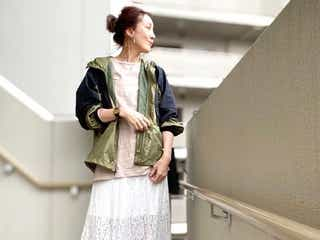 GUレーススカートで大人コーデを作る【2021】オフィスでも使える着まわし術