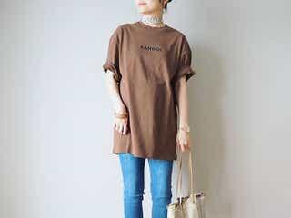《手持ちTシャツの袖ロールアップ》でマンネリ解消コーデ9選|折り上げるだけで雰囲気が変わる!
