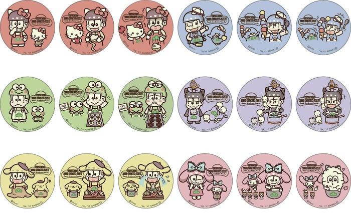 缶バッチ3個入り(C)赤塚不二夫/おそ松さん製作委員会 (C)1976,1979,1984,1988,1996,2017 SANRIO CO.,LTD.
